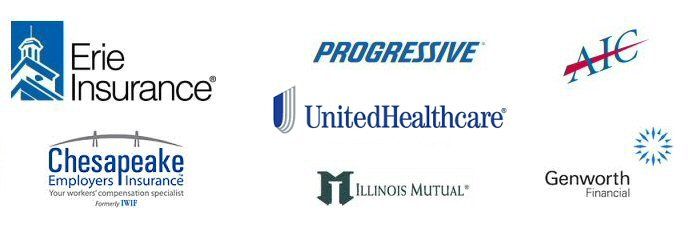 Our insurance carriers include  Erie, Progressive, AIC, IWIF, Chesapeake Employers Insurance Company, Genworth, Illinois Mutual and United Health Care (UHC)